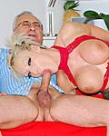 Senior guy with grey hair fucking a sexy porn star hard
