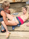 Blonde Teen cutie fucks and sucks a stranger in the outdoors