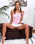 A busty teenage babe enjoys pleasuring her moist snatch