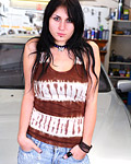 Gorgeous brunette teen with incredible naturally big titties