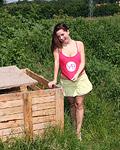 Naturally big titties teen girl rubs her pussy outdoors