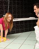 Horny teenage couple loving hardcore sex in the bathroom