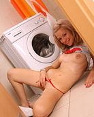 Horny teen cutie pleasuring her coochie in the bathroom
