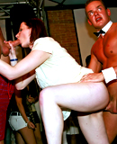 Wild and insane drunken sex orgy action inside a public bar