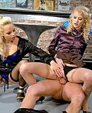 Two blonde bar chicks shagging the horny barman hardcore