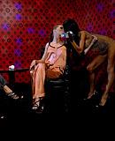 Three hot pyjama lesbian sweethearts stroking damp clit
