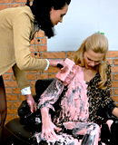 Gorgeous hot and horny lesbian babes playing with paint