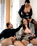 Smoking hot couple fucking and pissing on hot babe in 3some