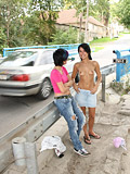 Adorable teen girls get naked and dance around in public