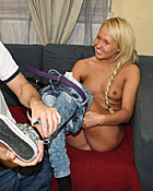 Hot blonde teenager screwing a big stiff pecker hardcore