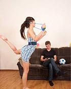 A horny teenage brunette shagging her boyfriends big dick