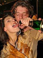 Crazy drunken partygirls sucking and fucking guys on stage