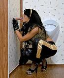 Babe enjoys sucking big stiff weiner in a public toilet