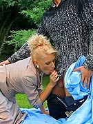 Outdoor silky fetish sucking and fucking couple action