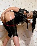 Slime slut dark haired babe sucking an imitation donger