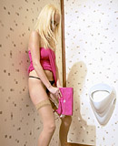 Innocent sexy blonde babe jizzed by fake pecker splooge