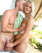 Horny dude banging a pretty hot blondes wide open snatch
