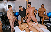 Hot and very horny anal fucking gay groupsex at a big party