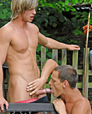A horny group of gay guys enjoys banging in the backyard