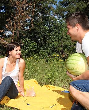 Picknicking teenage beauty fucked hard by her boyfriend