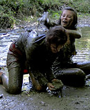 Hot messy lesbian girls like playing in the woods outdoors