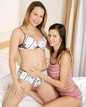 Lesbian teen hotties penetrating each others moist muff