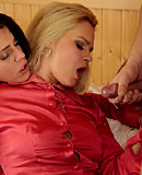Horny dude enjoys fucking sexy chicks hard in the sauna