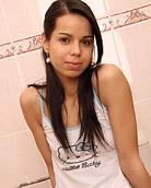 Hot horny teenage chick masturbating on the toilet seat