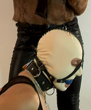 A very crazy lady enjoys playing around with sticky goo