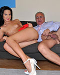 Senior penetrating a pretty babe with his large schlong