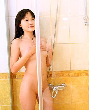Horny asian teenager sucking her boyfriends stiff schlong