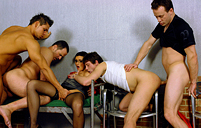 Bisexual fellows drilling cooches and buttholes with dick
