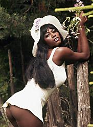 Amazing Ebony in white dress