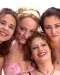 Four crazy teens in studio (Melissa Lauren pees)