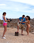 Graziella & Jordanne fucked outdoor by a guitarist on the roof!