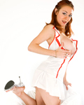 Leeloo sexy nurse redhead in the pure white....