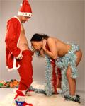 Nana cute brunette sucking Santa Claus big cock!