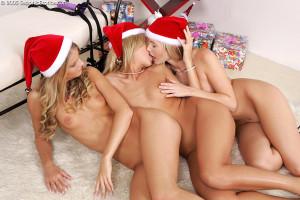 Three Santa hotties bang tight pink pussies in strapon romp