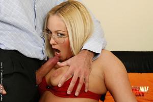 Busty secretary w huge tits blows a massive cock