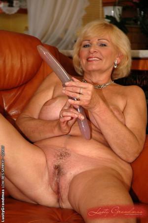 Elegant blonde granny toying and fucking hard