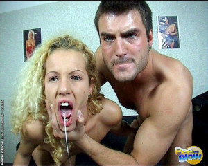 Curly blond haired girl suckin dick and gets hot cum