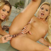 Kinky blonde lesbians toying with anal dildo