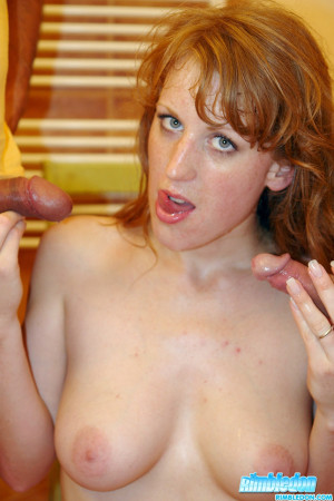 Natural cute redhead is making money by licking assholes