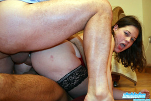 Chubby slut forced to lick some ass and getting anal fucked