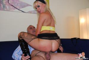 Blonde slut loves getting fucked hard by a horny senior