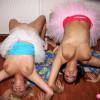 Two teenage lesbians fondling eachothers big massive tits