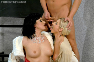 Hot and sexy teacher gets piss sprayed on her in threesome