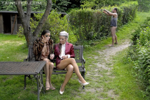 Two very horny girls and a dude peeing on a bench hardcore