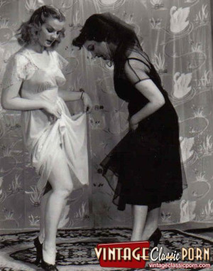Cute and sexy vintage lesbians undressing in the fifties