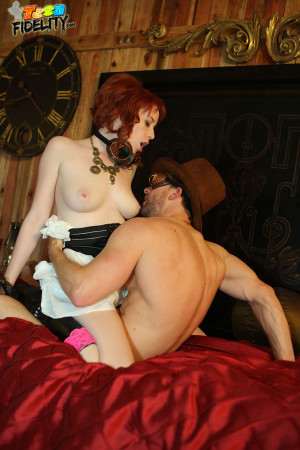 Zoey Nixon and her creamy skin and red hair look great while she\s getting fucked by Ryan for this steam punk themed scene